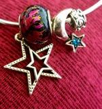 Lua & fogo da estrela 925 Sterling Silver & grânulos de vidro fotografia de stock