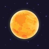 Lua gráfica no céu noturno com luz das estrelas, illustraton do vetor, Imagem de Stock