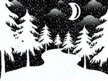 A lua na noite do xmas ilustração royalty free