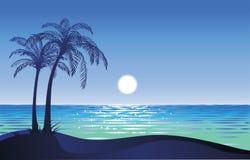 Lua na praia Ilustração do Vetor