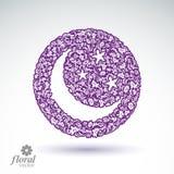 Lua nova colocada em uma ilustração bonita da arte do céu estrelado, fluxo Imagem de Stock Royalty Free