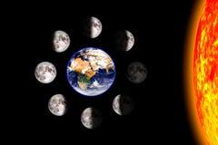 Lua ou cartaz lunar das fases Oito etapas do ciclo lunar em torno da terra Fundo preto 3d rendem a ilustra??o sem ilustração royalty free