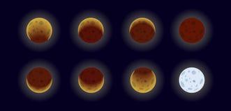 A lua põe em fase a ilustração ilustração royalty free