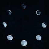 A lua pôr em fase a colagem Foto de Stock Royalty Free
