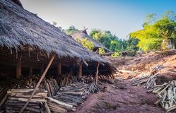 Hill tribe village. Lua, PraGum hill tribe village Maintaining the architectural style stock photography