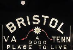Lua que pontilha o i do sinal de Bristal TENN/VA imagens de stock royalty free