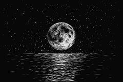 Lua que reflete em um mar ilustração stock