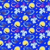 Lua sem emenda colorida da noite do teste padrão de Dia das Bruxas Foto de Stock Royalty Free