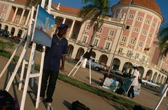Luanda, Angola. Artists put up their paintings at a park in Luanda, Angola Royalty Free Stock Images