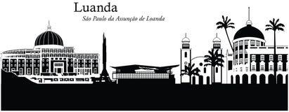 Luanda, Angola. Vector illustration of the skyline cityscape of Luanda, Angola Stock Photography