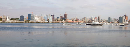 Luanda Bay Skyline, Waterfront Skyscrapers Panorama, Angola Royalty Free Stock Photography