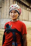 akha woman in front t of her home in the northern part of the country stock images