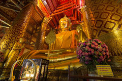 Luang Pho Tho, 19 meter tall Buddha, Wat Phanan Choeng, Ayutthaya, Thailand. The statue is regarded as a guardian for mariners. Allegedly, prior to the royalty free stock photo