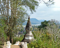 Luang Prabang και ο ποταμός Μεκόνγκ από την ΑΜ Phousi Στοκ Εικόνες