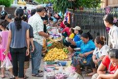 Luang Prabang, Λάος - 13 Ιουνίου 2015: Αγορά πρωινού Prabang Luang Στοκ Εικόνες