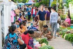 Luang Prabang, Λάος - 13 Ιουνίου 2015: Αγορά πρωινού Prabang Luang Στοκ φωτογραφίες με δικαίωμα ελεύθερης χρήσης