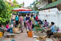 Luang Prabang, Λάος - 13 Ιουνίου 2015: Αγορά πρωινού Prabang Luang Στοκ εικόνα με δικαίωμα ελεύθερης χρήσης