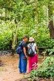 LUANG PRABANG, ΛΆΟΣ - 11 ΙΑΝΟΥΑΡΊΟΥ 2017: Ζεύγος στο δάσος, Luang Prabang, Λάος κάθετος Διάστημα αντιγράφων για το κείμενο Στοκ Εικόνα
