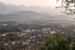 Luang Prabang in the evening. From the famous hill Royalty Free Stock Photography