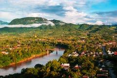 Luang Prabang krajobrazu widok z lotu ptaka Zdjęcia Stock