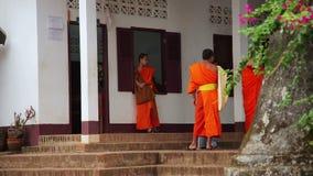 LUANG PRABANG, LAOS - APRIL 2014: buddhist monk school. LUANG PRABANG, LAOS - APRIL 2014: Buddhist school education, monk learning their teaching, Laos stock video