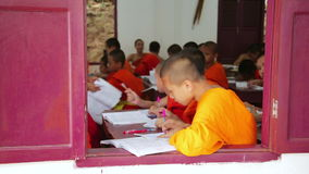LUANG PRABANG, LAOS - APRIL 2014: buddhist monk school stock video