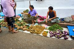 LUANG PRABANG, LAOS - APRIL 17 2019: Lokal säljande mat på morgonmarknaden i Luang Prabang, Laos fotografering för bildbyråer