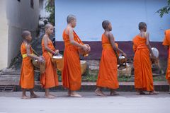Luang Prabang, Laos, jeunes moines dans l'aumône donnant la cérémonie, 16 images stock