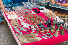 Luang Prabang, Laos - Jun 13 2015: Luang Prabang Morning Market. The Morning Market is a popular souvenir shopping site for touris. Ts Stock Image