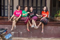 Female tourists enjoying each other company in Luang Prabang, La stock photography