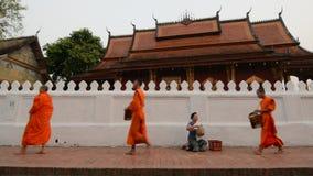 LUANG PRABANG, LAOS - MAJ 2019: Ris för buddistiska munkar mot efterkrav under Tak Bat morgonallmosa som ger ceremoni arkivfilmer