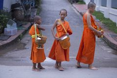 Luang Prabang, Laos, moines d'enfant dans l'aumône donnant la cérémonie, 16 photos libres de droits