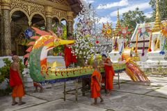 Constructing a ceremonial boat in Luang Prabang royalty free stock photography
