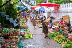Luang Prabang Morning Market on June 9, 2015 in Luang Prabang Laos. Royalty Free Stock Image