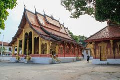 Luang Prabang National Museum and Haw Kham Temple in Laos are the main attractions of the city royalty free stock image