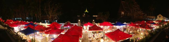 Luang Prabang Night Market Panorama Stock Images