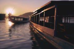 Puesta del sol en el río Mekong Imágenes de archivo libres de regalías