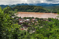Luang Prabang widok z lotu ptaka Zdjęcie Stock