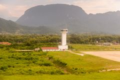 Luang Probang,老挝机场  免版税库存图片
