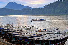 Luang Probang, Laos. Boats by the Mekong River. Royalty Free Stock Photography