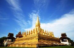 Golden pagoda in Vientiane. The most attractive golden pagoda in Vientiane Royalty Free Stock Photo