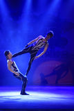 Young male actors performing modern acrobatics on stage, china Royalty Free Stock Photography