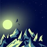 Luar, a lua Montanhas esmeraldas rochosas Paisagem da noite Estrelas de cintilação Eagles no vôo Turismo e natureza selvagem Veto ilustração royalty free
