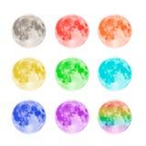 Luas cheias coloridos isoladas no fundo branco Foto de Stock Royalty Free