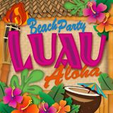 Luau Beach Party Invitation Aloha. Luau Beach Party Invitation Tropical Announcement Art Vector Tiki Torch Coconut royalty free illustration