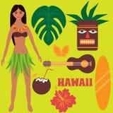 Luau-Parteigestaltungselemente, tropischer Rest, Freizeit auf Hawaii-Inseln, exotische Ferien, Sommerwochenende, Mädchentanzen hu Stockfoto