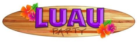 Luau Party Logo Hawaii Surfboard Logo Flowers. Luau Party Art Logo Hawaii Surfboard Logo Flowers retro lei island surf board beach luau stock illustration