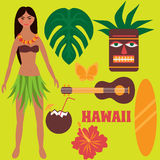 Luau party design elements, tropical rest, time off on Hawaii islands, exotic vacation, summer weekend, Girl dancing hula, hawaiia Stock Photo