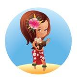 Luau Ukulele Hawaiian cartoon girl Royalty Free Stock Photography