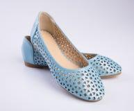 but lub błękitni kolor damy buty na tle Obraz Royalty Free